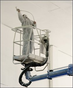 Industrial Spray Painting a Ceiling in Louisville KY